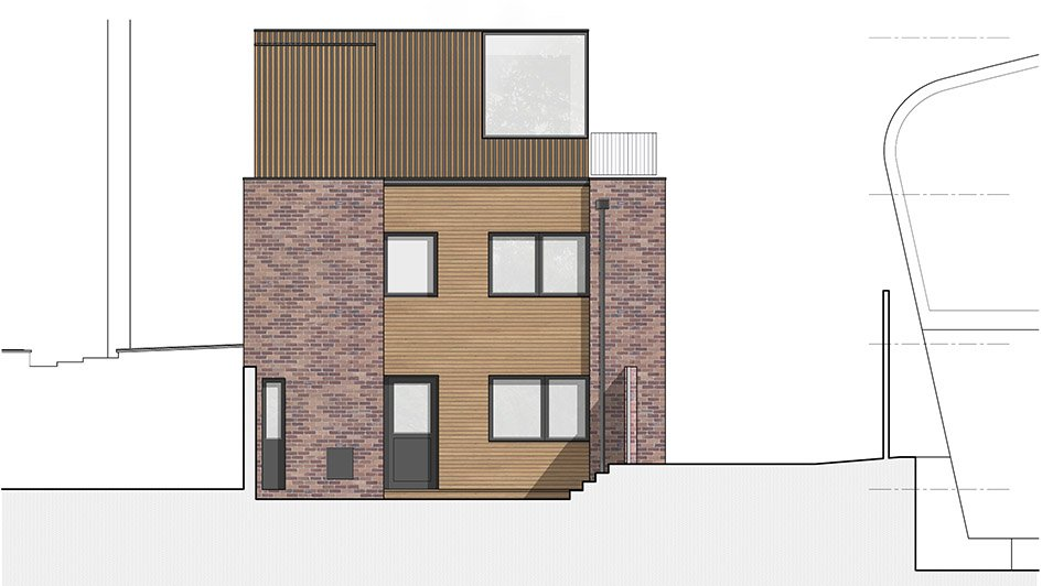 Wood Cladding Elevation : Hall place w